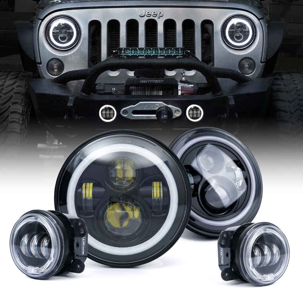 Xprite 7 80w Cree Led Headlights Fog Lights Combo With Halo For Jeep Wrangler